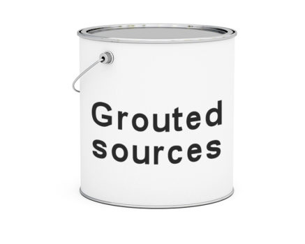 Paint tin of grouted sources